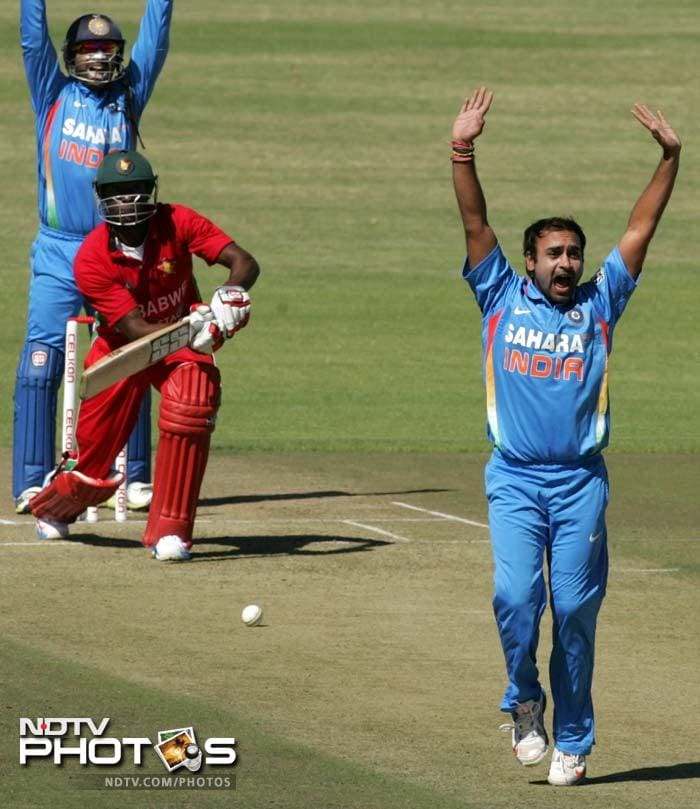 It was Amit Mishra ( 3 wickets from the match) who struck first when he dismmised Sibanda (34 off 72).