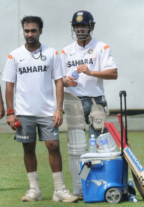 Gautam Gambhir and Amit Mishra look on during a net practice session at the R. Premadasa Stadium in Colombo. (AFP Photo)