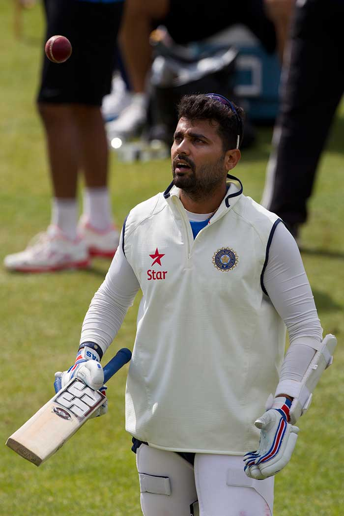 Murali Vijay is seen during the training session. A lot of batting responsibility would be on his shoulders.