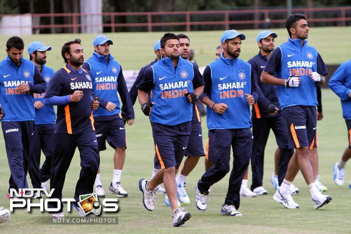 Team India got down to the basics from the moment they landed in Harare for the 5-ODI series against Zimbabwe. A look at their training session. (AP images)