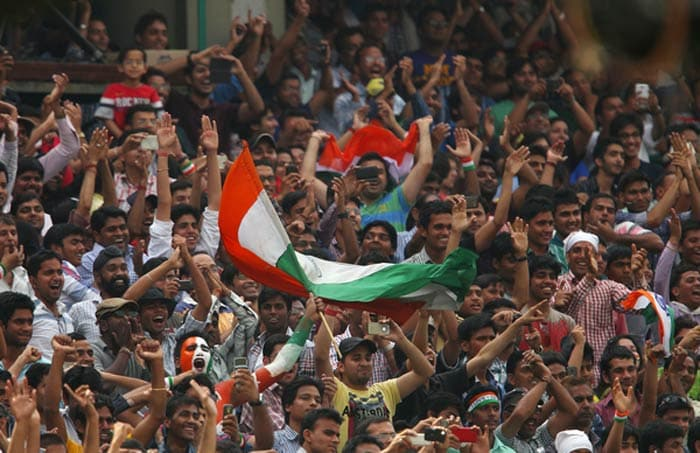 Fans came out in numbers to cheer Team India on Day 3 of the 4th Test against Australia held at the Feroz Shah Kotla stadium in Delhi. (BCCI image)