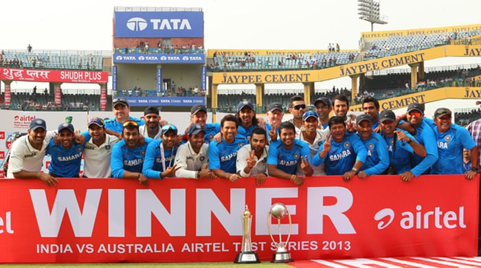 Team India pose for a photograph after winning the Border-Gavaskar Trophy against Australia 4-0. (BCCI image)