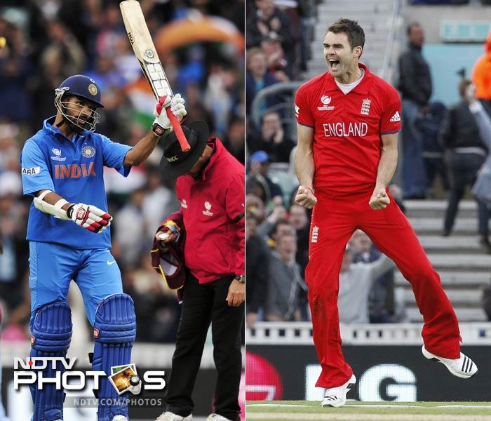 India's main weapon in batting will face off against England's most seasoned new-ball bowler.<br><br>When Shikhar Dhawan takes guard against James Anderson, expect a furious battle as both have enjoyed great success in the Champions Trophy, so far.<br><br>While Dhawan is the highest run-getter in the tournament with 332 runs from 4 innings so far, Anderson has claimed ten wickets here and will be hungry to add more against his name.