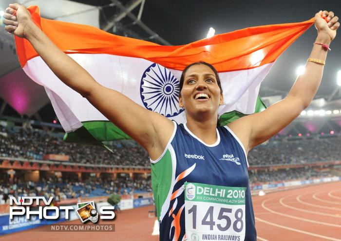 <b>Off the block with a bang:</b> Krishna Poonia qualified for next year's London Olympics after clinching a gold medal in the women's discus thrower event of the Fling Throw Meet in Portland, USA. A moment of extreme pride for a nation that is looking to make its mark in the biggest spectacle of world sports.