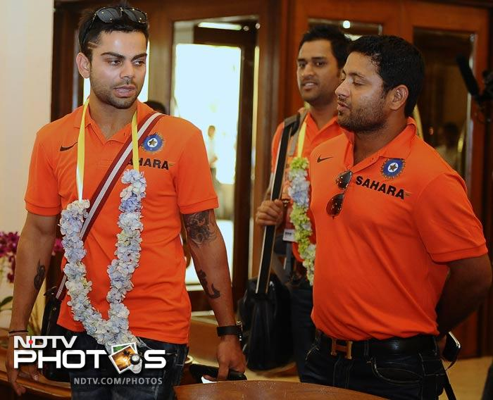 And last and of course not the least.<br><br>Virat Kohli will be the frontline man for the Indian team. He is in sublime form and will lead the batting during the course of the tournament.<br><br>Here he is seen with spinner Piyush Chawla.