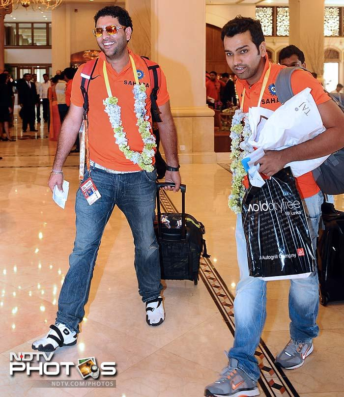 Yuvraj is seen here with Rohit Sharma.<br><br>Though off late Sharma's fan following has dipped because of his dipping form, he played a crucial role in India's title-winning campaign in 2007 and cannot be discounted.