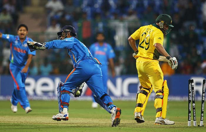 MS Dhoni's side have already beaten the Aussies in the warm up fixture by 38 runs. The two teams may have assessed each others game but expect them to come out all guns blazing at Ahmedabad as the stakes are raised to jingoistic levels. (Getty Images)