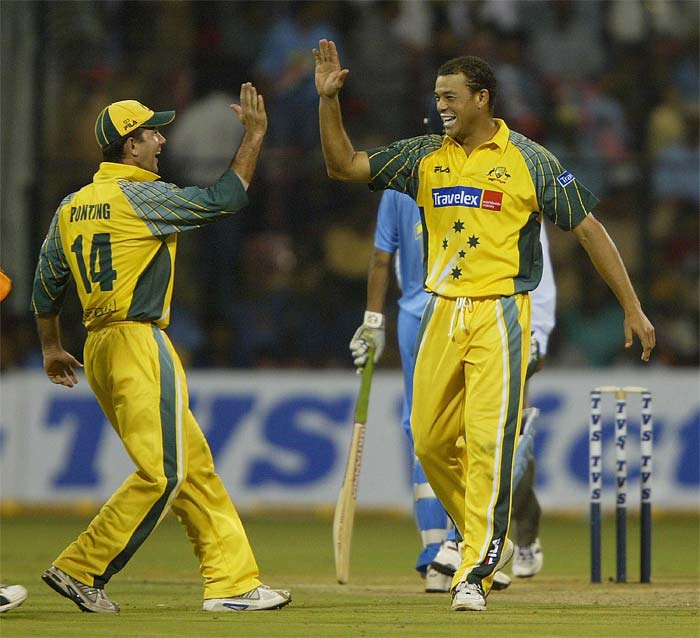 Andrew Symonds took top honours from the match as he scalped 4 Indian wickets to dismiss the side for a paltry 125. In their reply, Australia lost the single wicket of Adam Gilchrist as they chased the target down in 22.2 overs. (Getty Images)
