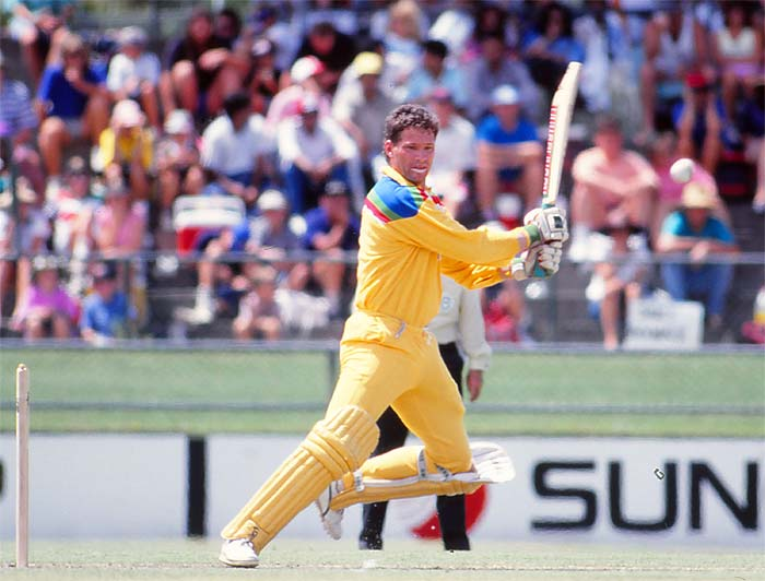 Dean Jones hit a patient 90 to take Australia to a decent total but it was Tom Moody's three-wicket haul that dented the Indian batting. This after Mohammad Azharuddin was run out on a threatening personal score of 93. (Getty Images)