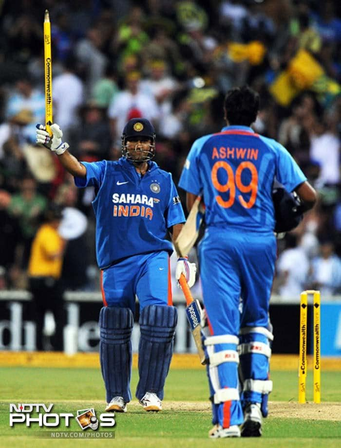 13 runs were needed off the final over and Dhoni did not disappoint. A massive six and the task became much simpler for the visitors.