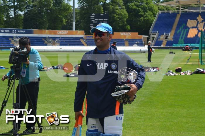 The Indian team - led by skipper MS Dhoni - practiced in Cardiff ahead of the second warm-up match against Australia. <br><br> A look at the session. (All images courtesy: NDTV/ Soumitra Bose)