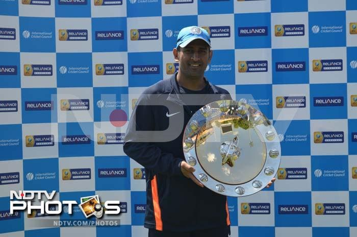 Dhoni looked in good spirits and he and his side had every reason to appear joyous.<br><br> The skipper collected a cheque and the ICC ODI shield on behalf of the team for finishing at the top of the championship table.