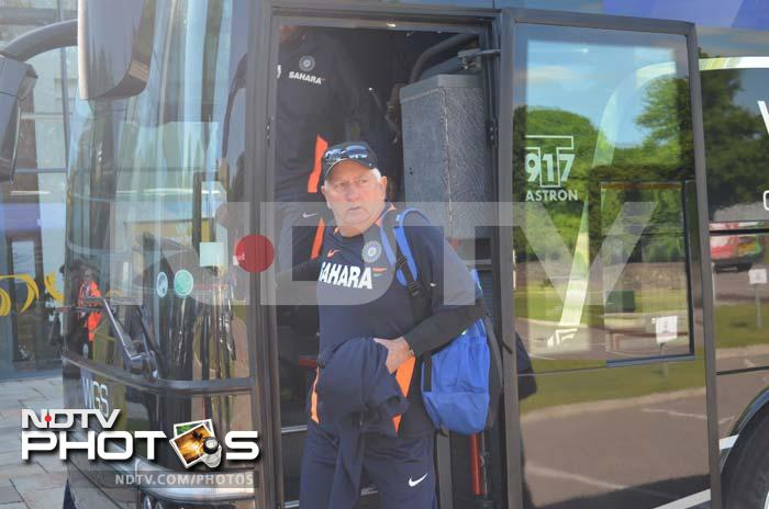 The Indian team, along with coach Duncan Fletcher (in pic), arrive at the Swalec Stadium here.