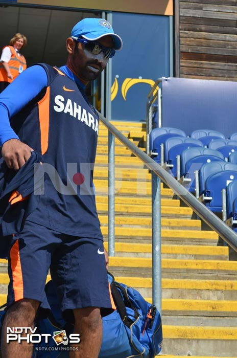 Dinesh Karthik though has shown early signs of aggression. He scored an unbeaten 106 against Sri Lanka. <br><br>Is seen making his way out to the middle for the practice session.