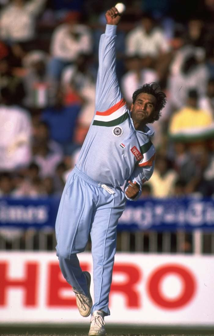 <b>July 25, 1993 (Colombo):</b> India managed to register a thrilling one-run win at Colombo after skipper Mohammad Azharuddin 's half-century helped his side to post 212 in the first innings. Manoj Prabhakar, Javagal Srinath, Rajesh Chauhan (in pic) and Anil Kumble took 2 wickets apiece to halt the Lankans in the final over. (Getty Images)