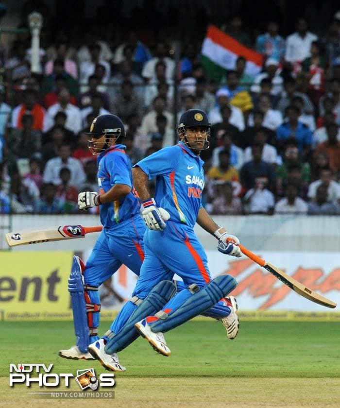 Next came Raina. He partnered his skipper well and helped himself to 61 runs.