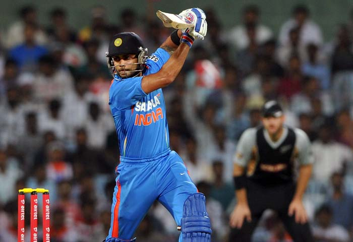 In reply, India lost Gautam Gambhir (3) early but Virat Kohli made up for the loss. He hit 70, his best in T20, to demoralise New Zealand.
