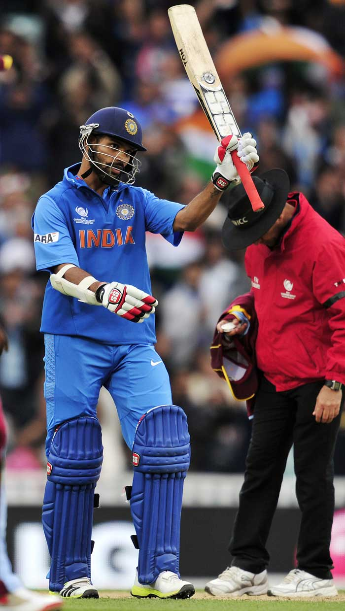 Dhawan reached his 100 with a six towards third-man, reminiscent of Virender Sehwag. Dhawan has made the opening slot his own.