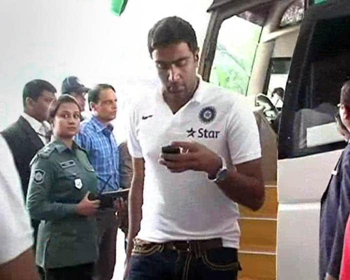 Spinners will have a huge role to play on wickets in Bangladesh. <br><br>R Ashwin is seen here getting off the team bus. He will lead India's spin attack.