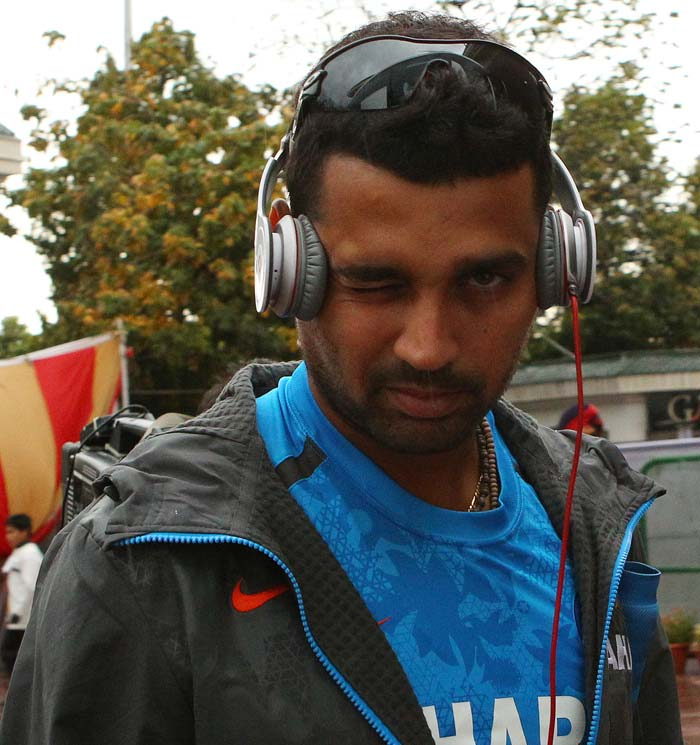 Not picked to play, Ajinkya Rahane does not seem to be too perturbed about the overnight rain. (Image courtesy: BCCI)