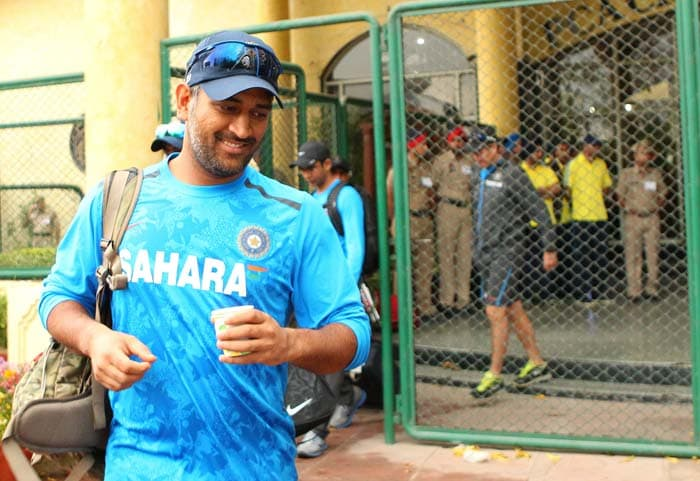 With a comfortable 2-0 lead in the 4-Test series, skipper MS Dhoni cannot seem to contain his smile despite the delay in proceedings. (Image courtesy: BCCI)