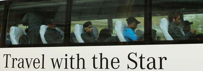 No one really needs to be told that they are the biggest sporting stars in the country. <br><br>The team bus though re-emphasises the fact. (Image courtesy: BCCI)