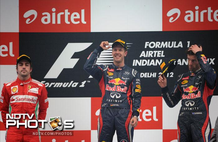 Sebastian Vettel held Red Bull's head high as he won the 2012 edition of the Indian Grand Prix repeating the feat he had performed last year.
