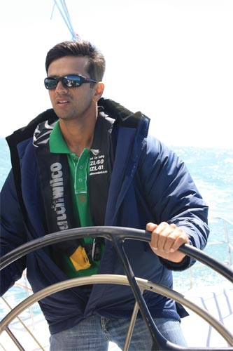 Rahul Dravid steers the wheel and enjoys a sailing trip in Auckland, New Zealand's sailing harbour.