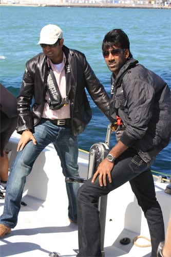 VVS Laxman and Laxmipathy Balaji enjoy a day of sailing at the Auckland Harbour.