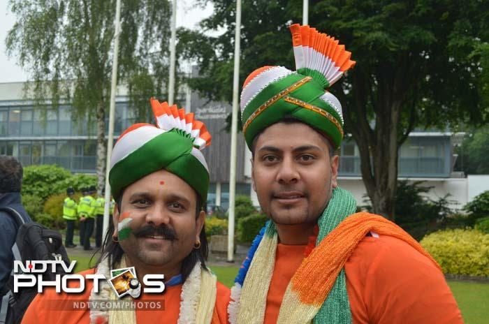 Indian fans seen donning turbans and dupattas outside the Sophia Gardens stadium, Cardiff.