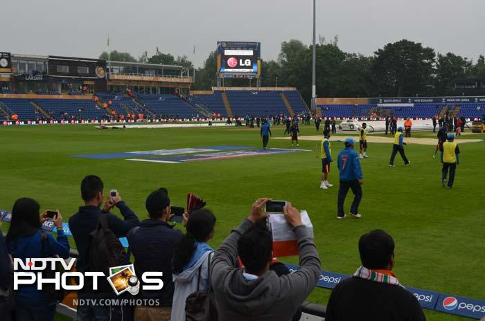 Indian team seen warming up in the morning, under the overcast conditions, before the start of their much-awaited semi-finals tie.