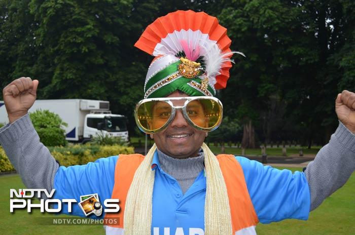 An ardent and enthusiastic Indian fan, seen in the tradition India colour hat.