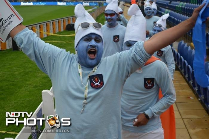 Supporters dressed as smurfs - of all shapes and sizes - thronged Cardiff's Swalec Stadium for the semifinal between India and Sri Lanka.