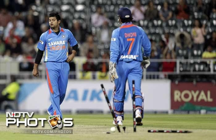 Suresh Raina proved to be expensive in the end as he gave up 49 runs in 4 overs, but was the only one among the Indian bowlers to pick up two wickets.