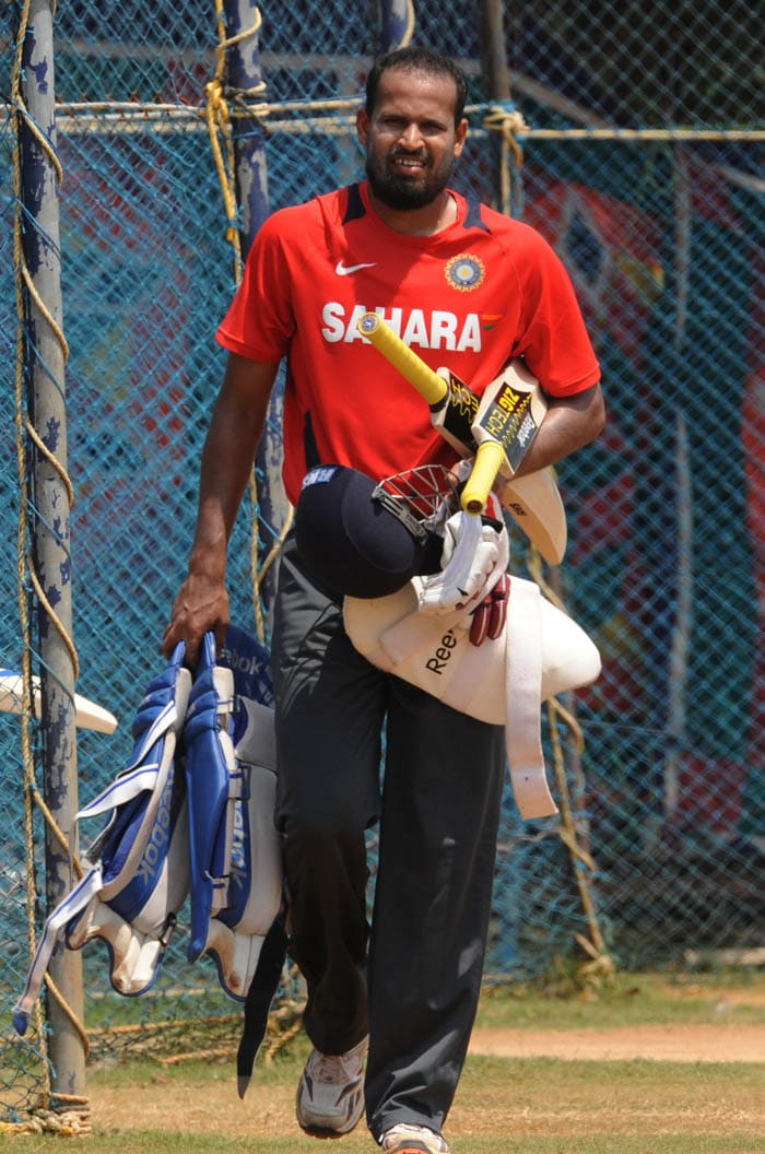 India batsman Yusuf Pathan leaves the nets following a training session. (AFP Photo)