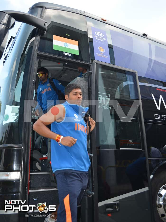 Umesh Yadav looks keyed up to have a good run as he steps down from the team bus in Cardiff.