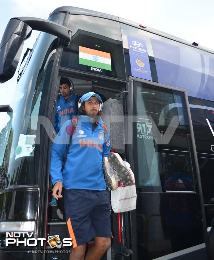 Ishant Sharma showing no sign of nerves as he arrives for practice in the team bus.