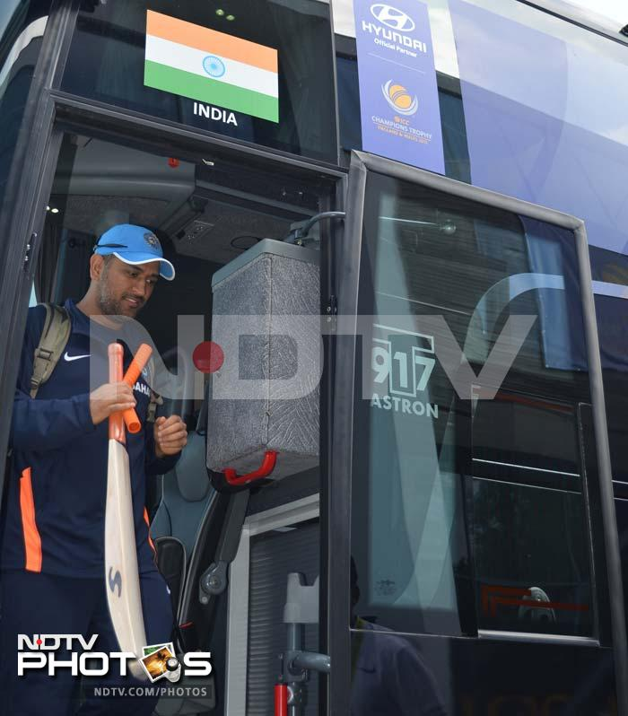 Team India skipper MS Dhoni arrives for practice in Cardiff.