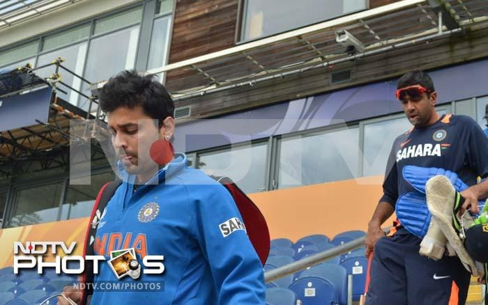 Murali Vijay and R Ashwin arrive at the ground for their training session a day before the semi-final clash against Sri Lanka.