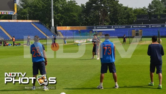 Trevor Penny gives fielding practice to the members of Team India to make sure they are on top of their game against Sri Lanka.