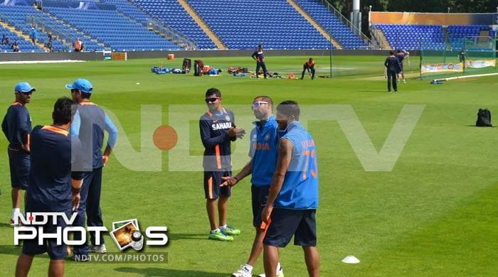 The team members sharing a light moment during their practice session as they gear up for the Sri Lanka game.
