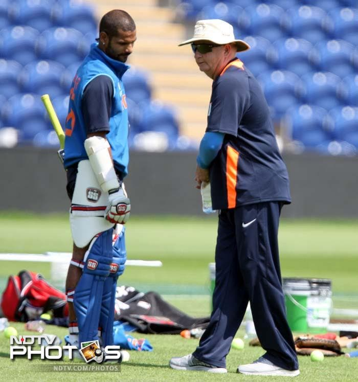 "India skipper MS Dhoni says, ""Duncan Fletcher has done really well for us and now we are going into a phase where we are doing well for him."" Coach Fletcher shares some tips with Shikhar Dhawan."