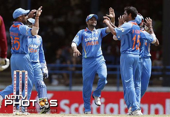 Bhuvneshwar Kumar was once again impressive with the new ball. He finished with 3/29 from his 8 overs.