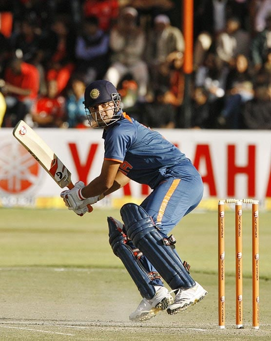 Indian captain Suresh Raina plays a shot to his 72 of 44 balls not out at Harare Sports Club in the second and last of the two Micromax Twenty 20 series. India won the series by 7 wickets. (AFP Photo)