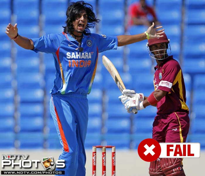 <b>Ishant Sharma</b><br><br> Ishant Sharma can be stated as the biggest disappointment of the Windies ODI tour. Conceding at the rate of over 5 runs per over, he only managed a single wicket in the two matches he played.