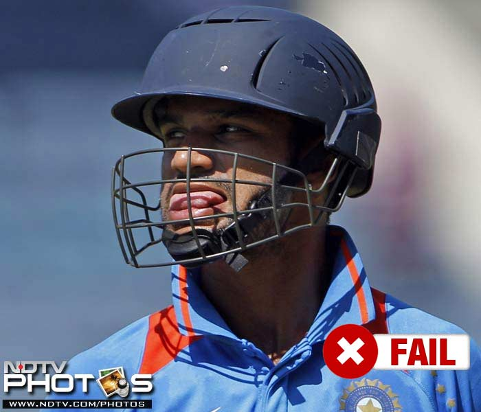 <b>Shikhar Dhawan</b><br><br> Shikhar Dhawan's domestic performances never earned him a place in the side and the 'raring to go' attitude had to wait too much to have the necessary aggression. He started well with a fifty in the first ODI but only managed 18 runs in the next 3 matches he played.