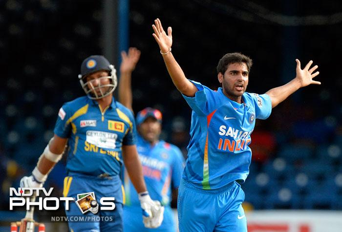 The Lankan chase never got going, with Bhuvneshwar Kumar picking up early wickets including the prize scalp of Kumar Sangakkara for nought.