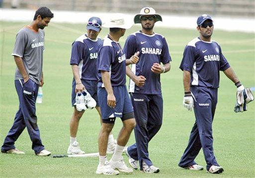 Mohammad Kaif, Sachin Tendulkar, Harbhajan Singh, and Mahendra Singh Dhoni are seen at a conditioning camp ahead of the Test series against Australia in Bangalore. (AP Photo)