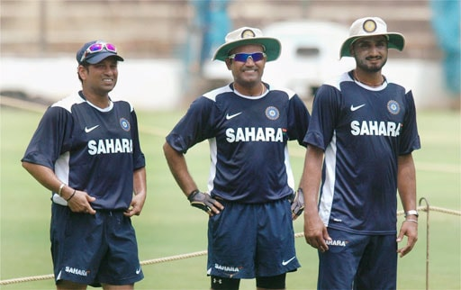 Sachin Tendulkar, Virender Sehwag and Harbhajan Singh on the first day of the training session, ahead of the Australian series, at Chinnaswamy Stadium in Bangalore. (PTI Photo)