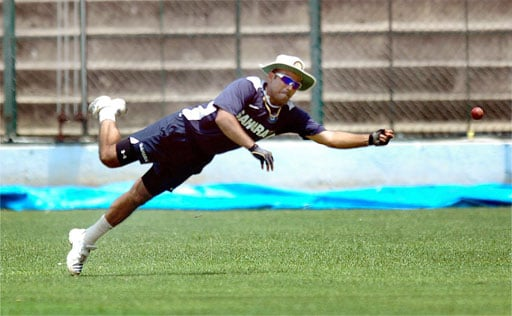 Virender Sehwag during a training session ahead of the Australian series at Chinnaswamy Stadium in Bangalore. (PTI Photo)